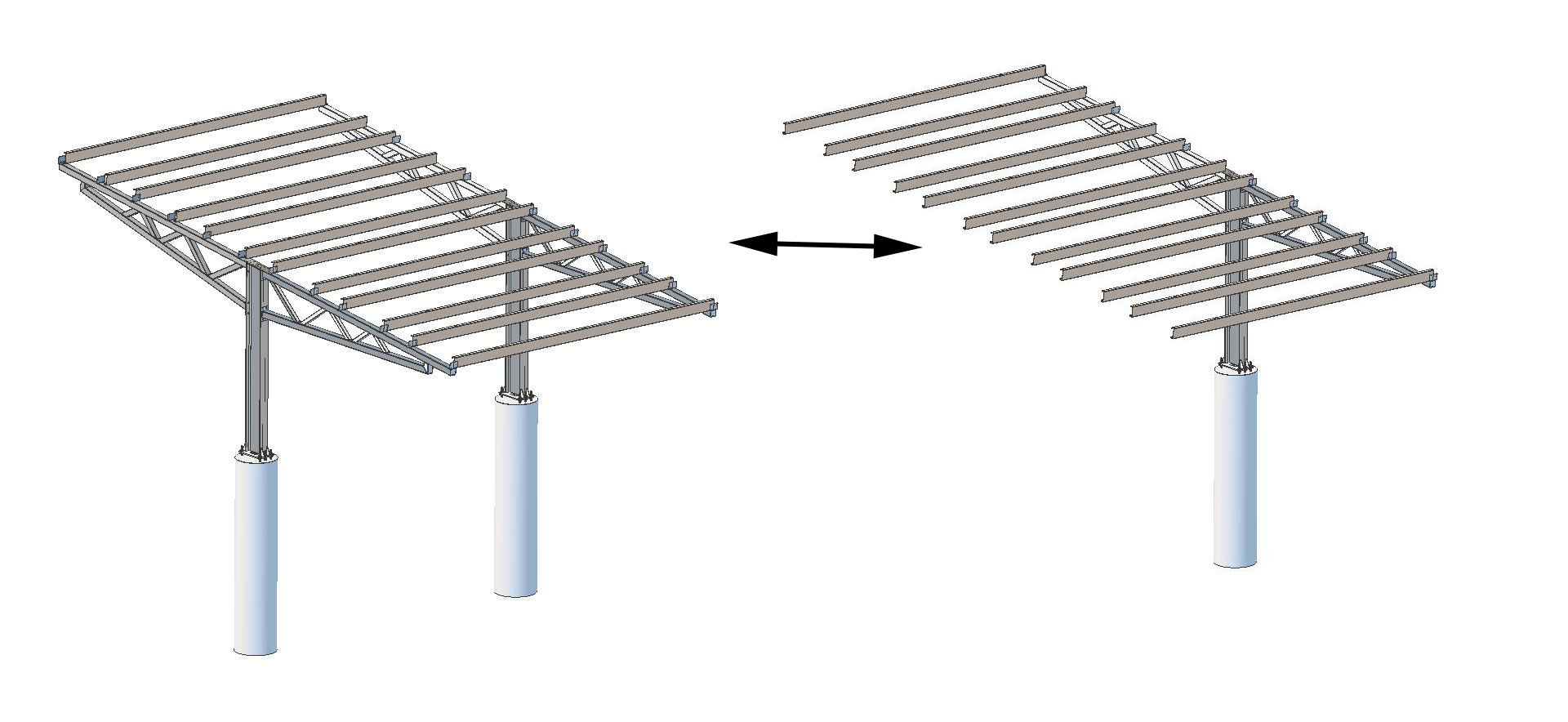 T-Frame solar carport sections image.