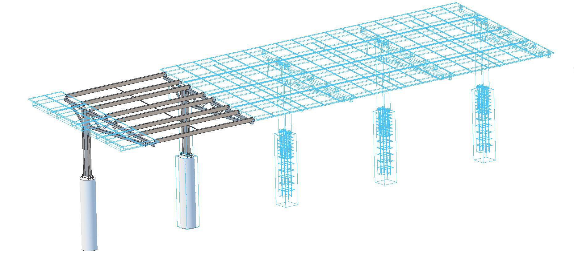 L-Frame solar carport sections.