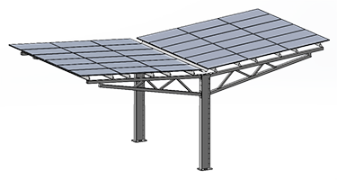 Solar carport image of Y-frame carport design.