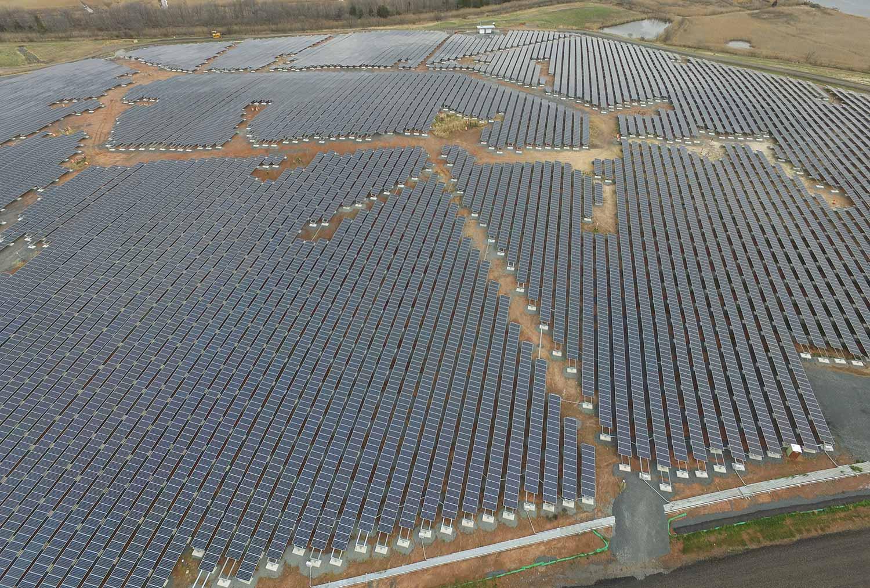 Ballasted ground mount solar array.
