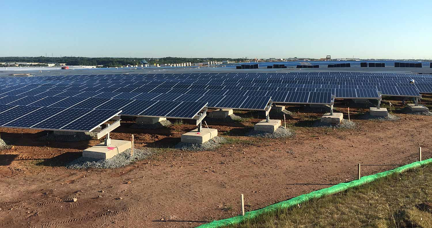 Ballasted solar array at the ILR Landfill in NJ.
