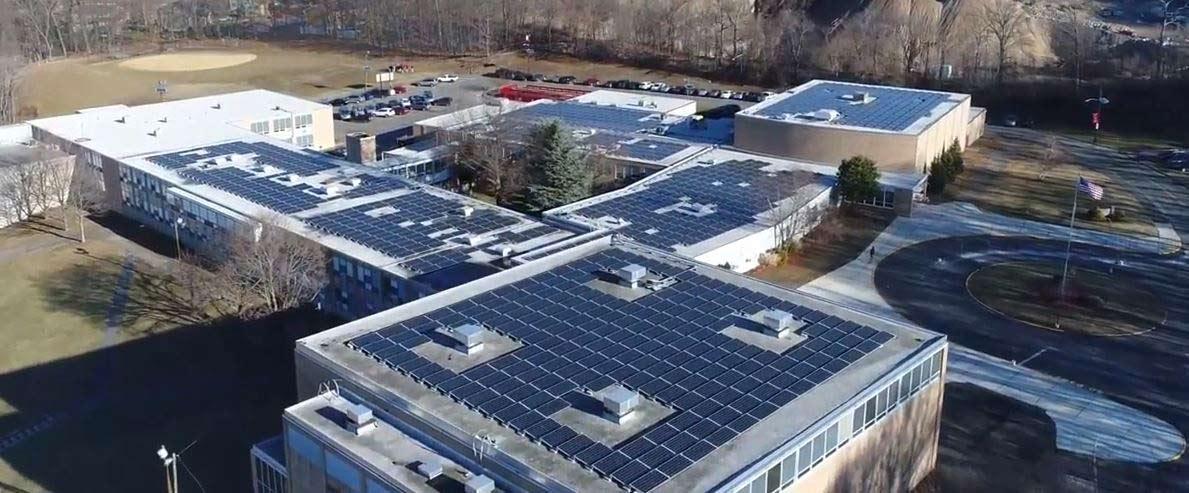 Roof top solar array photo.