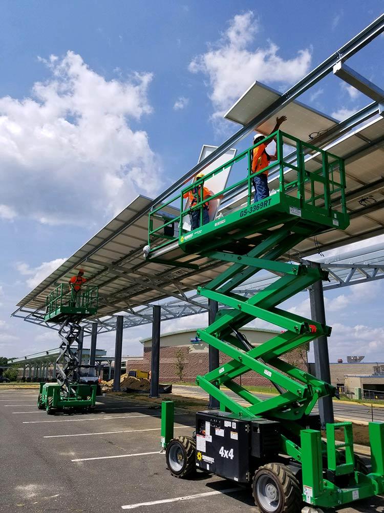 Solar carport panel installation photo.
