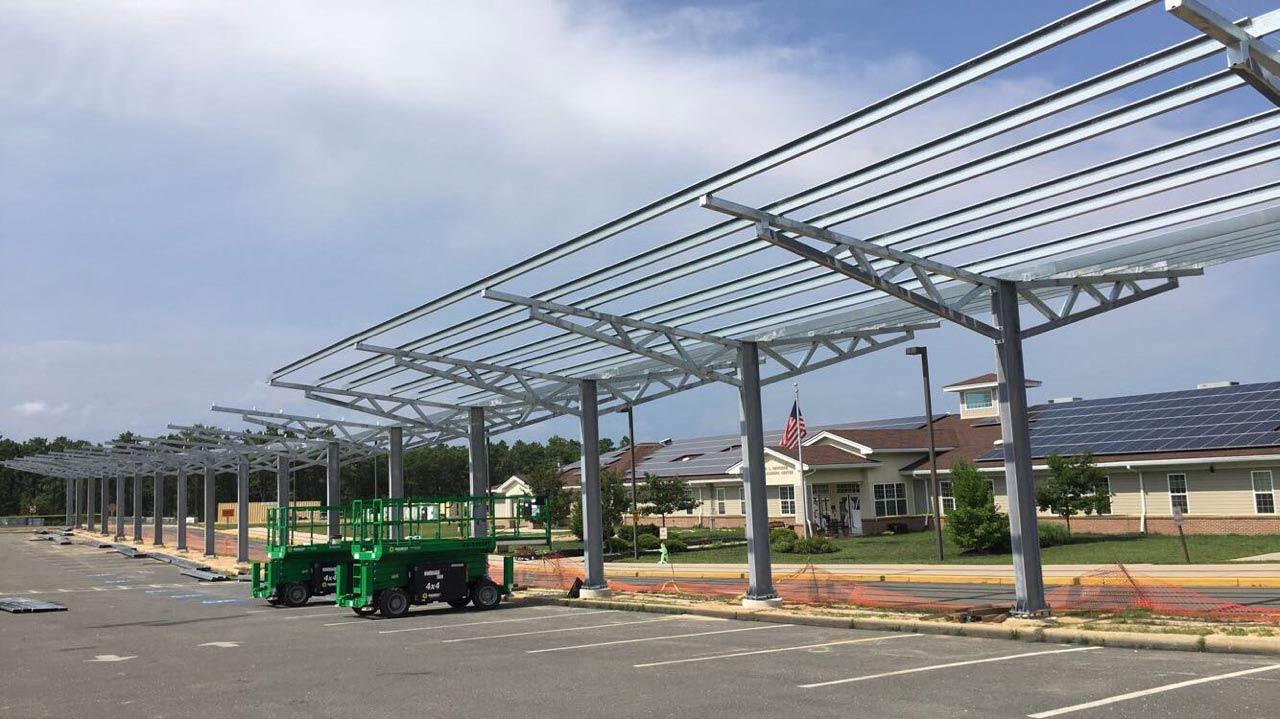 Solar carport installation photo from Stafford schools.