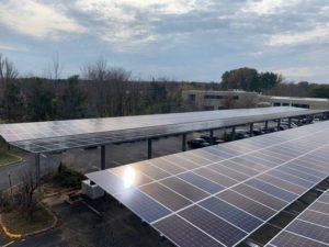 Y-frame solar carport in New Jersey.