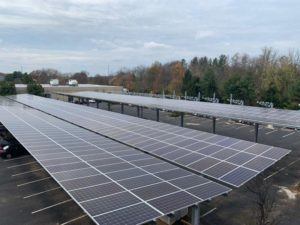 Solar parking canopy in Monmouth Junction, New Jersey.