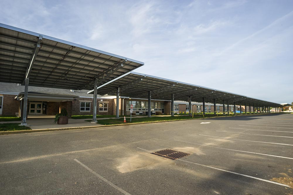 Solar canopy on front of Clark School, Mickleton NJ.