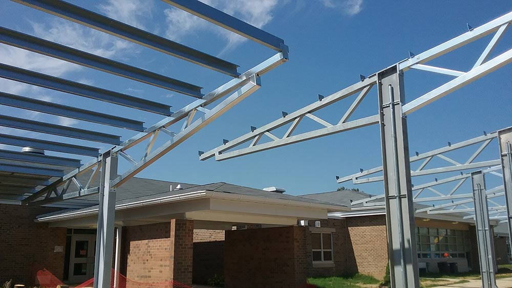 Solar carport construction photo.