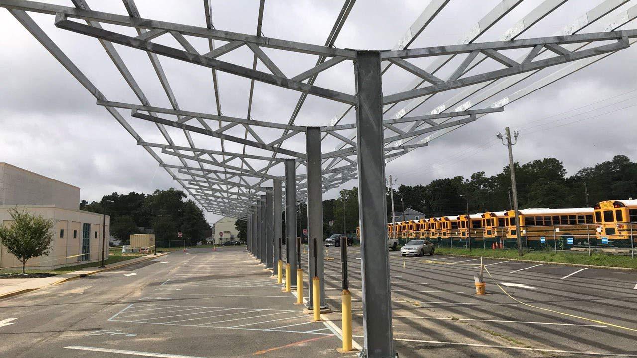 Solar carport at Oxycocus school in New Jersey.