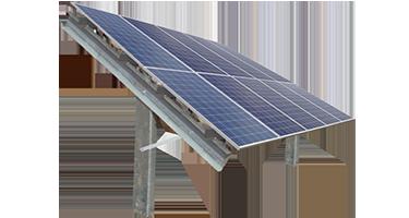 Solar ground mount image with 1 high portrait solar panels.